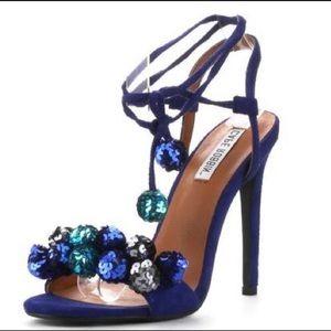 Cape Robbin Alza Embellished Cobalt Blue Sandals
